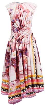 Prada Flowerpot Print Cotton Midi Dress - Womens - Pink Multi