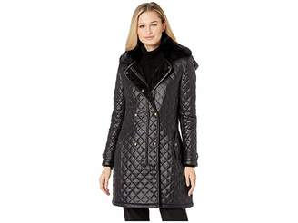 Lauren Ralph Lauren Double Breasted Soft Nylon Trench w/ Faux Fur Collar Women's Coat