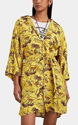 R 13 Women's Hawaiian-Print Belted Kimono-Style Shirtdress - Yellow