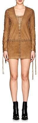 Saint Laurent Women's Lace-Up Suede Minidress