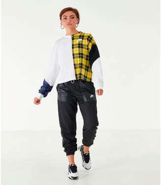 Nike Women's Sportswear Plaid Long-Sleeve Cropped T-Shirt