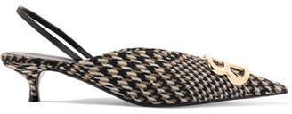 Balenciaga Logo-embellished Prince Of Wales Tweed Slingback Pumps - Brown