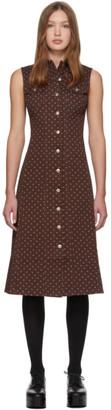 ALEXACHUNG Brown Denim Button Dress