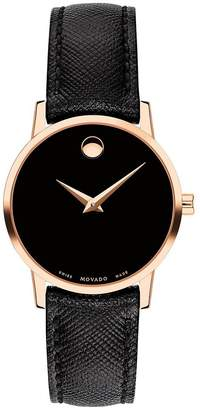 Movado Museum Black And Rose Gold Detail Black Leather Strap Ladies Watch
