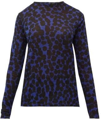 Proenza Schouler Painted Dot Cotton Tissue T Shirt - Womens - Black Blue