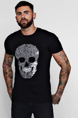 boohoo Skull Sequin T-Shirt