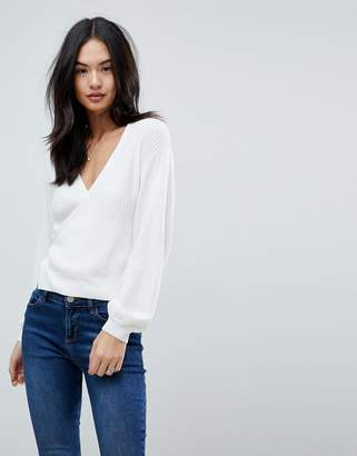Asos Design Jumper in Rib with Wrap Detail