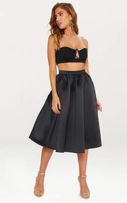 PrettyLittleThing Black Satin Full Midi Skirt