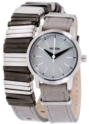 Nixon Kenzi White Dial Double Wrap Leather Strap Ladies Watch A4031763-00
