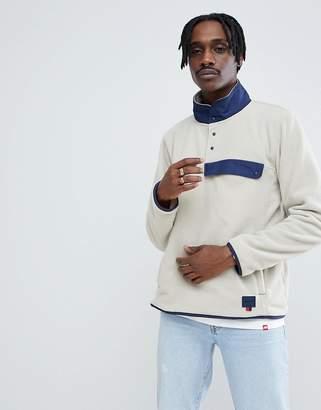 Herschel Overhead Fleece Sweat Contrast Collar in Beige