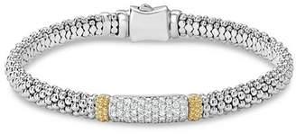 Lagos 18K Gold & Sterling Silver Diamond Lux Pavé Station Bracelet, 6mm