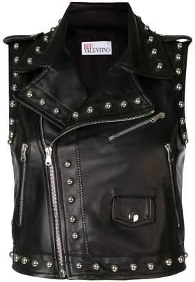 RED Valentino studded sleeveless motorcycle vest