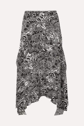 J.W.Anderson Asymmetric Printed Silk Midi Skirt - Black