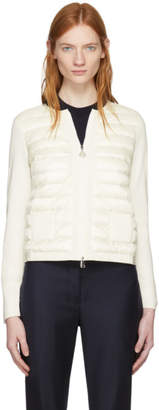 Moncler White Down Front Zip-Up Sweater