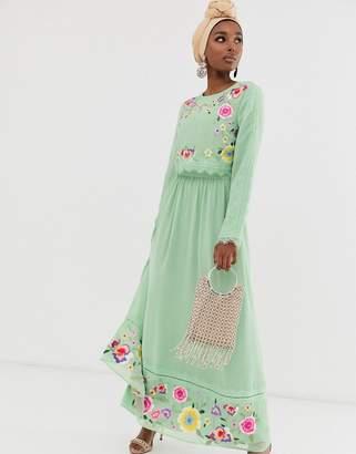 Asos Design DESIGN double layer embroidered maxi dress
