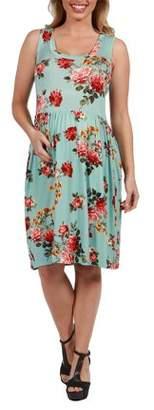 24/7 Comfort Apparel Nicole Green Floral Maternity Dress