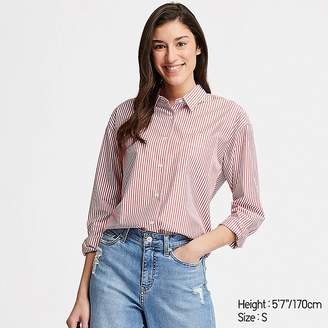 Uniqlo Women's Extra Fine Cotton Striped Long-sleeve Shirt