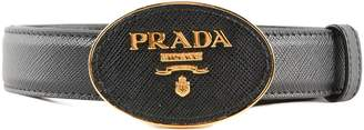 Prada Logo Plaque Buckle Belt