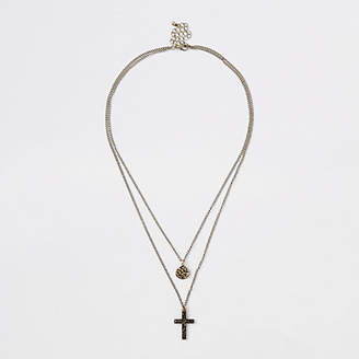 River Island Mens Gold tone disc and cross necklace