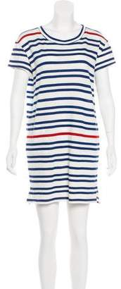 White + Warren Striped Knit Mini Dress