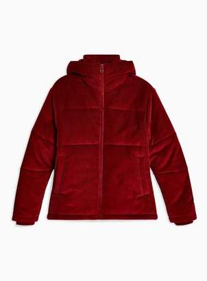 Topman Mens Dark Red Corduroy Puffer Jacket