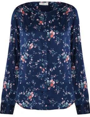 Joie Timlyn Floral-Print Stretch Silk-Satin Blouse