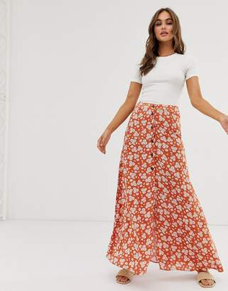 f3f48ce8361d6 Asos Design DESIGN button front maxi skirt in brown floral print