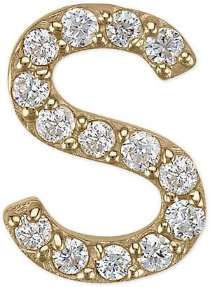 Sarah Chloe Diamond Accent Initial Single Stud Earring in 14k Gold