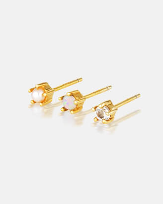 Aurora Opal Pearl Diamond Dainty Ear Studs