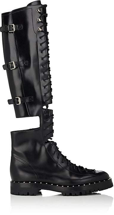 Valentino Garavani Women's Soul Rockstud Leather Over-The-Knee Combat Boots