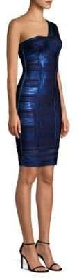 Herve Leger One Shoulder Foil Bandage Dress