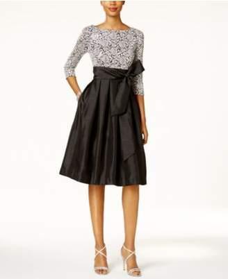 Jessica Howard Sequined Lace Taffeta Fit & Flare Dress