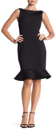 Calvin Klein V-Back Godet Flared Hem Midi Dress