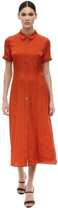 ALEXACHUNG Alexa Chung Floral Jacquard Silk Satin Shirt Dress