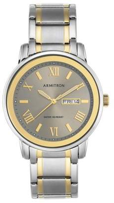 Armitron Men's Dial Watch, Grey, Two-Tone Stainless Steel Bracelet