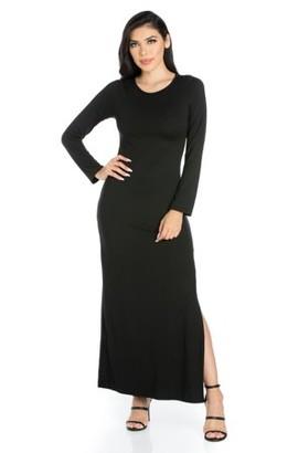 24/7 Comfort Apparel 24seven Comfort Apparel Strut It Black Long Sleeve Side Slit Maxi Dress
