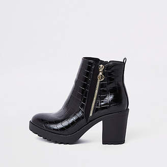 River Island Black chunky croc embossed ankle boots