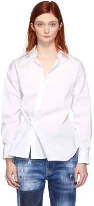DSQUARED2 White Stretch Poplin Wrap Shirt