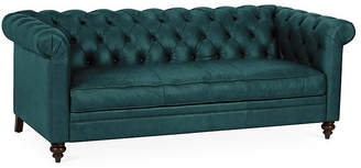 One Kings Lane Rockport Chesterfield Sofa - Teal Leather