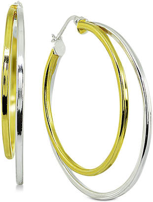 "Giani Bernini Medium Two-Tone Double Hoop Earrings in Sterling Silver & 18k Gold-Plated Sterling Silver, 1.5"""