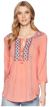 Roper 1568 Solid Cotton Rayon Peasant Blouse Women's Clothing