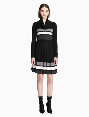 Calvin Klein colorblock cowl neck a-line sweater dress