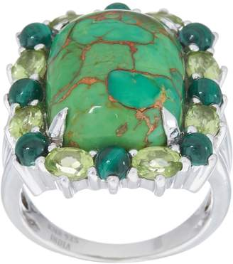 Green Mojave Turquoise and Gemstone Halo Ring, Sterling Silver