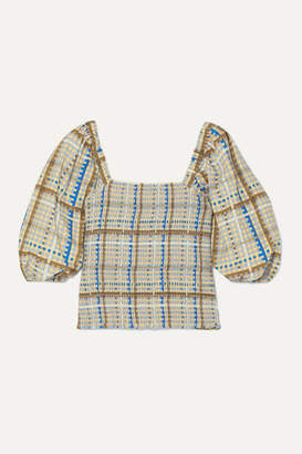 Ganni Shirred Checked Cotton-poplin Top - Light blue