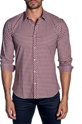 Jared Lang Men's Modern-Fit Gingham Long-Sleeve Shirt