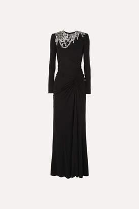 Alexander McQueen Crystal-embellished Crepe Gown - Black