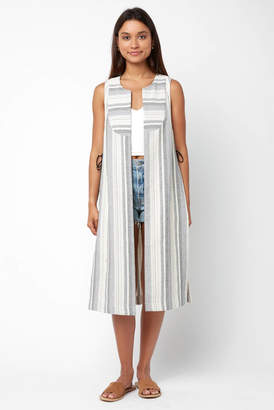 BCBGeneration Long Woven Lace-up Textured Vest