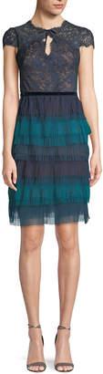Marchesa Lace Cap-Sleeve & Tulle Ruffle Dress