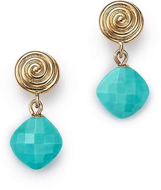 Bloomingdale's Turquoise Swirl Drop Earrings in 14K Yellow Gold - 100% Exclusive