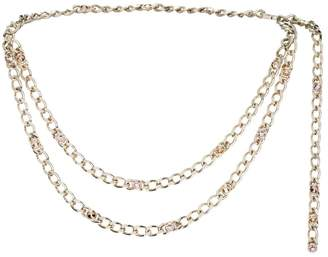 St. John Metal & Swarovski Crystal Chain Link Double Strand Belt